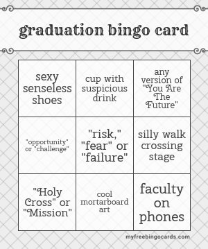 Graduation Bingo Card
