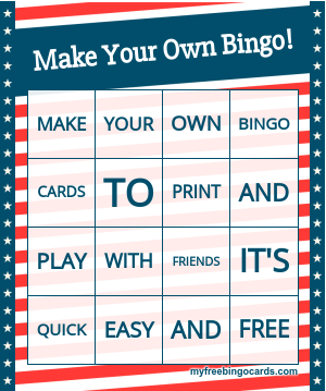 Free Custom Printable and Virtual Bingo Card Generator
