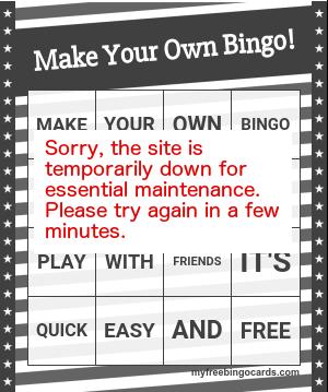 Free custom bingo card generator - myfreebingocards com