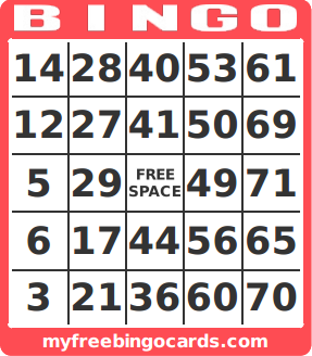 Free Printable 1-75 Number Bingo Card Generator