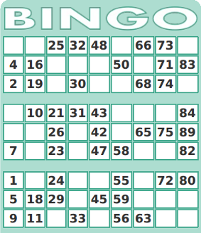 Printable 1-90 Number Bingo Card Generator