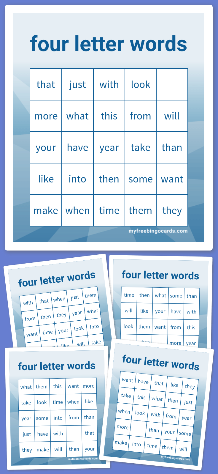 Kids four letter words bingo