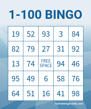 free printable bingo cards with numbers 1 100