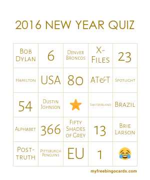 New Year Quiz of 2016
