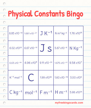 Physical Constants Bingo
