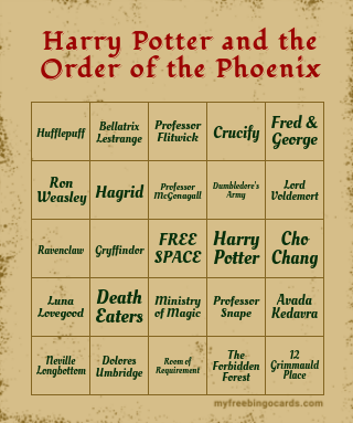 Harry Potter and the Order of the Pho… Bingo