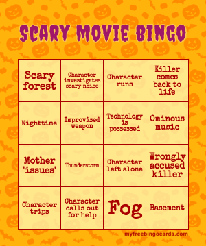 Scary Movie bingo