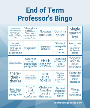 End of Term Professor's Bingo