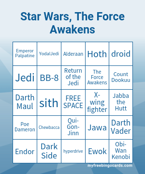 Star Wars - The Force Awakens Bingo