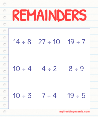 REMAINDERS BINGO