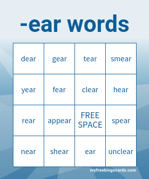 -ear words bingo