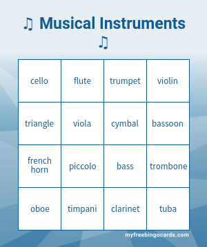 Musical Instruments Bingo