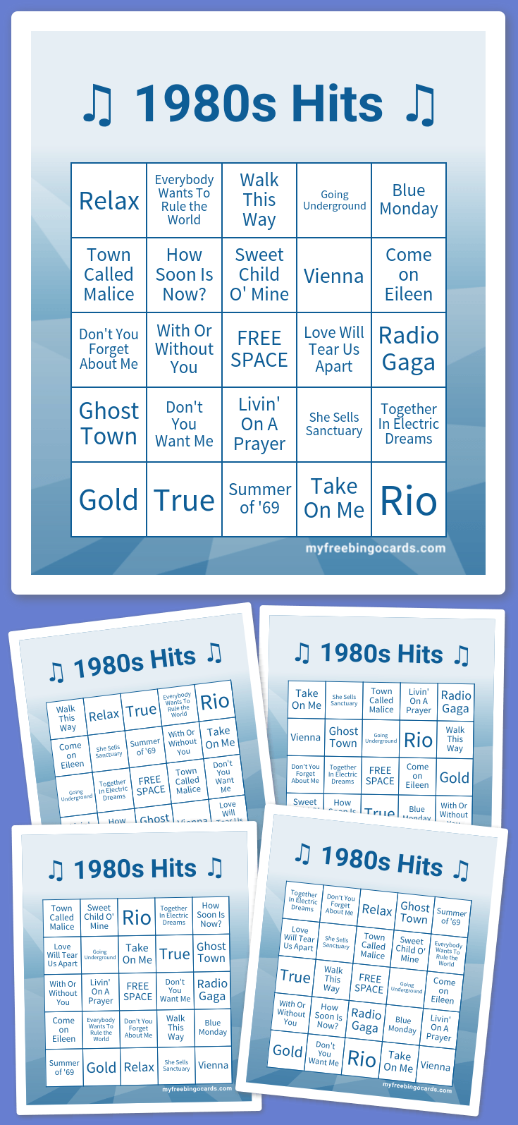 1980s music hits bingo