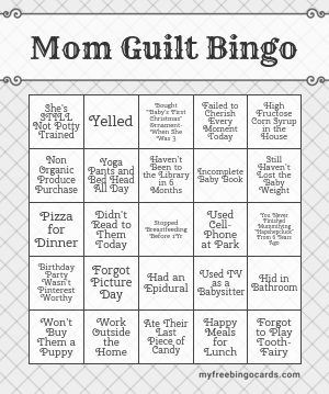 Mom Guilt Bingo