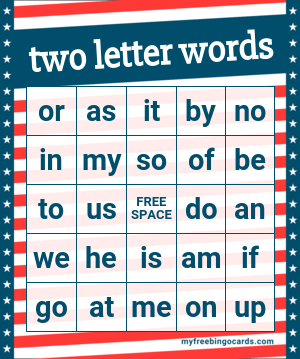 Kids two letter words bingo