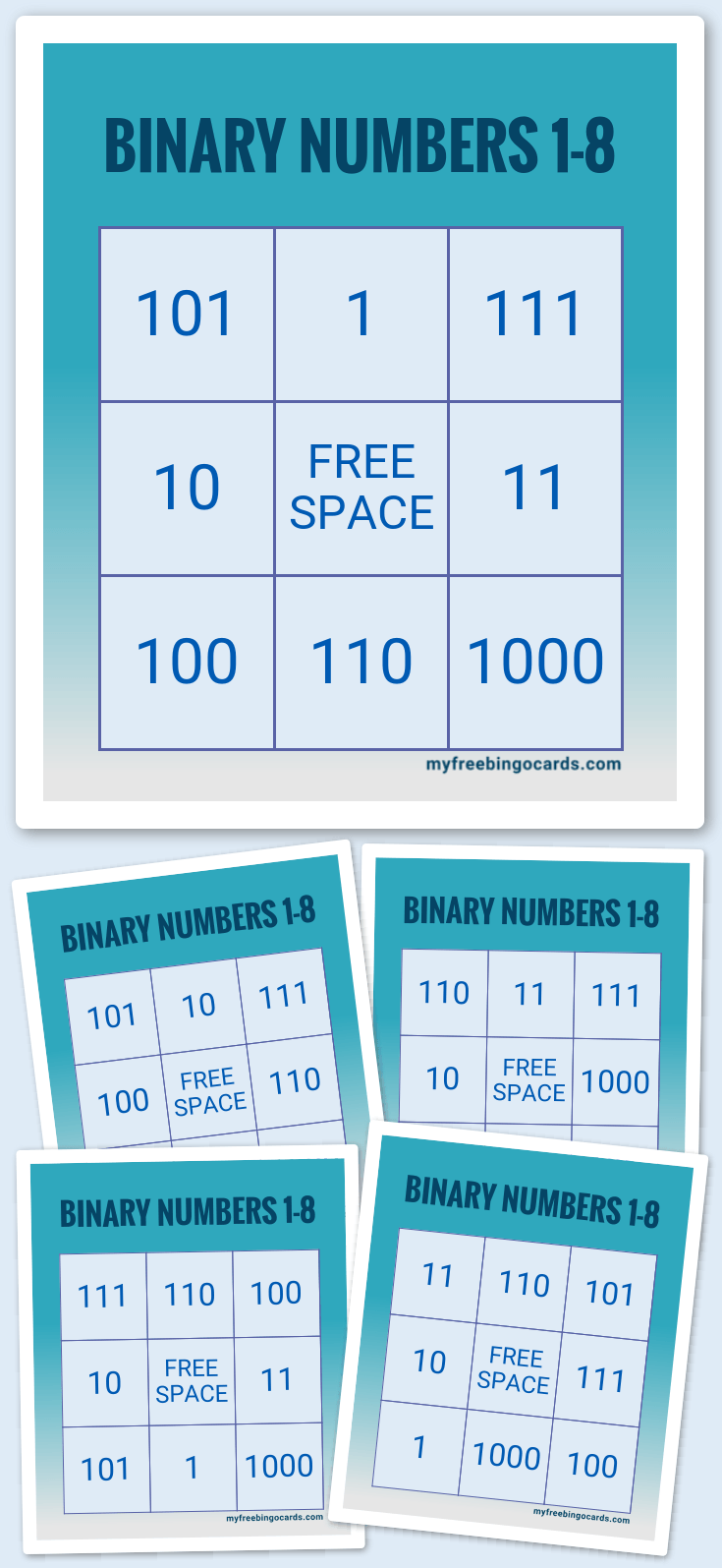 Binary Numbers 1-8 Bingo