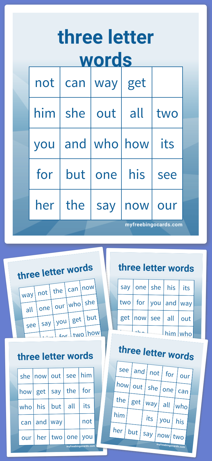 Kids three letter words bingo