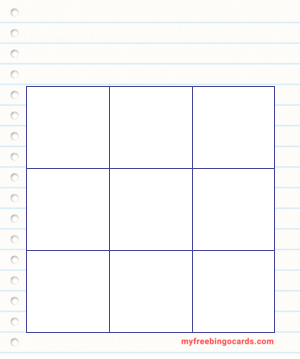 Notepad Bingo Template