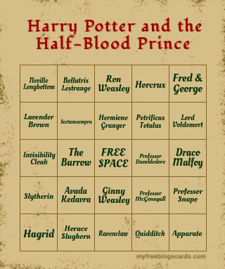 Harry Potter And The Half-Blood Prince Bingo