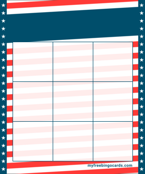 Stars and Stripes Bingo Template