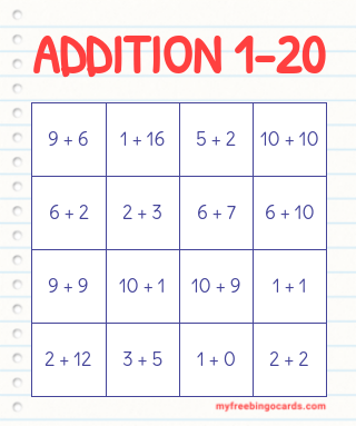 1-20 Math Addition Bingo