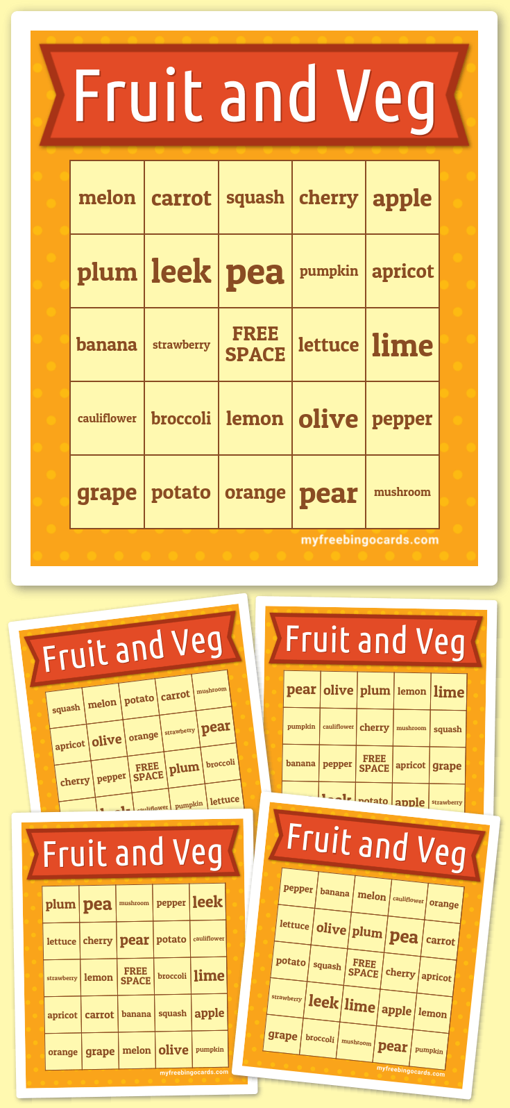 Fruit and Vegetables Bingo