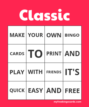 Free Printable Bingo Card Themes