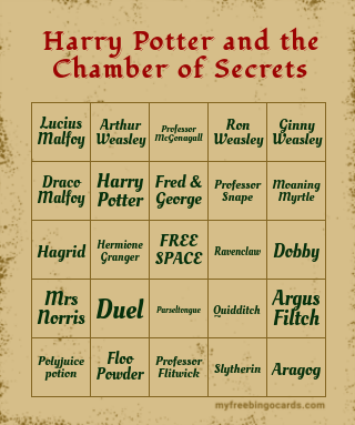 Harry Potter And The Chamber of Secrets Bingo