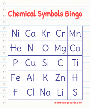 Chemical Symbols Bingo