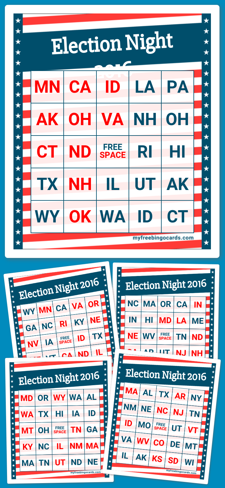 Election Night 2016 Bingo