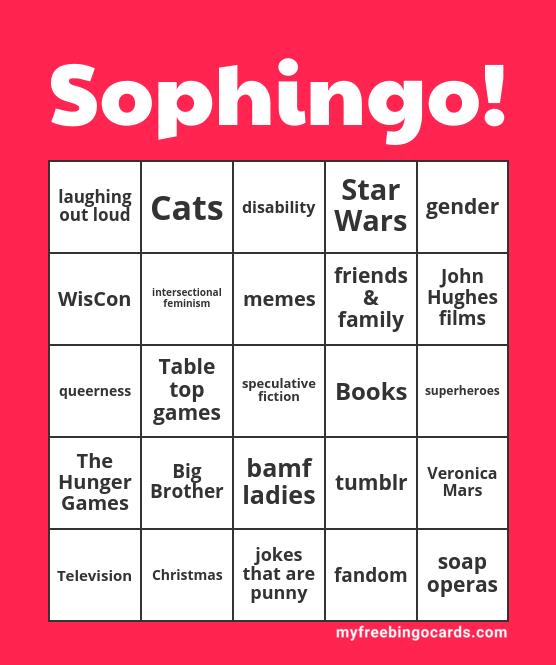 Sophingo! My Free Bingo Card