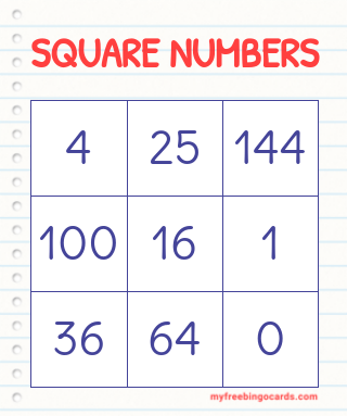 Math Square Numbers Bingo