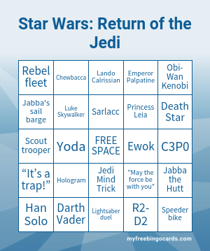 Return of the Jedi Bingo