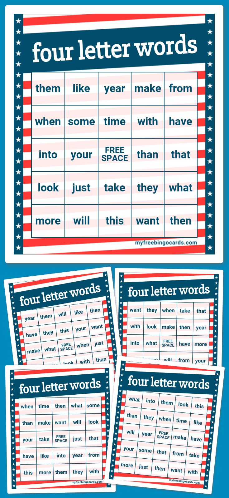 four letter words four letter words bingo 21811