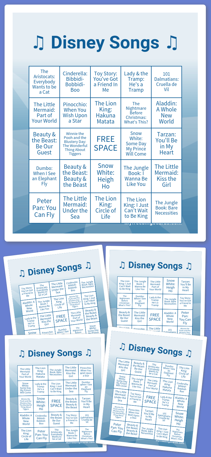 Disney songs bingo