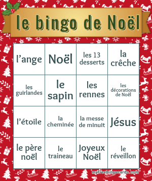 French Noel Bingo