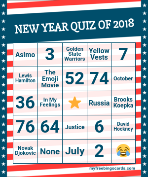 New Year Quiz Of 2018