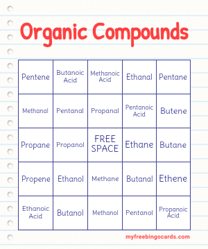 Organic Compounds Bingo