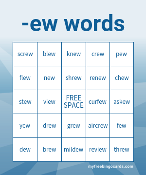 -ew Words Bingo